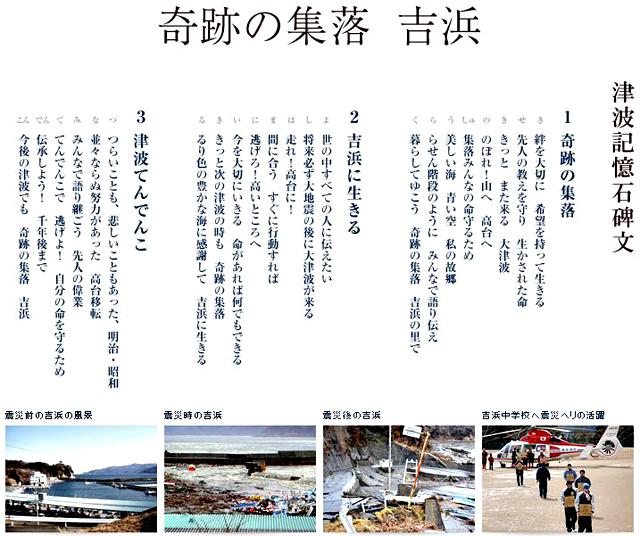 _「奇跡の集落-吉浜」の津波記憶石碑文(「津波記憶石プロジェクト」HPより)